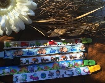 Pacifier holder clip, baby shower gift, little boy, cars, trucks, dinosaur, astronaut, tractor