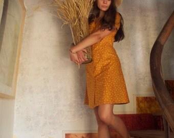 Désirée Dress/ Mustard yellow dress/ Short sleeves dress/ Button up dress/ Retro dress/ Vintage dress/ LesSuffragettes