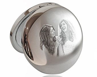 Photo Engraved Compact Metallic Mirror - Handbag Mirror Wedding, Bridesmaid Gift