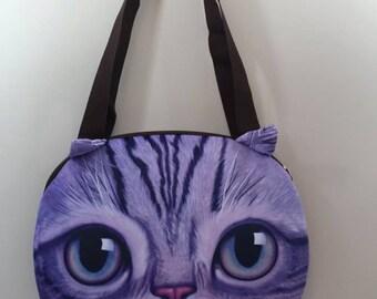 3 D cat face tote bag