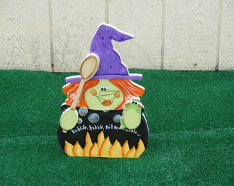 Halloween Witch with Kettle Yard Sign
