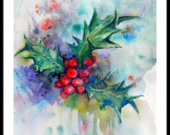"Original Water color painting, Christmas Plant Decoration, With Mat 8""x10"", 150253"