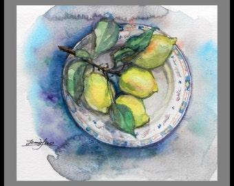 "Original Water Color painting, Lemon still life, with mat 10""x8"", 160282"