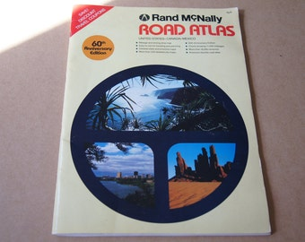 Vintage 1984 Rand Mcnally 60th Anniversary Large Road Atlas 11 x 16 120 pages of maps