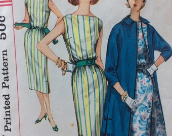 Simplicity 1911 vintage 1950's misses sheath dress & coat sewing pattern size 18 bust 38