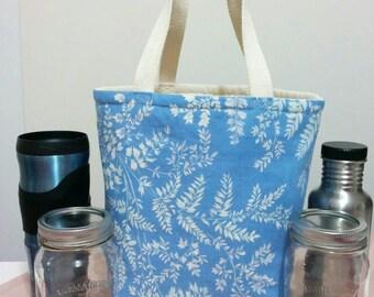 Mason Jar Tote Bag  Beverage Bag Lunch Bag