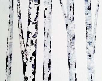 Extra Large Wall Art, Aspen Tree Painting, Art for Sale, Black and White Art, Contemporary Large Wall Art, Modern Large Birch Painting