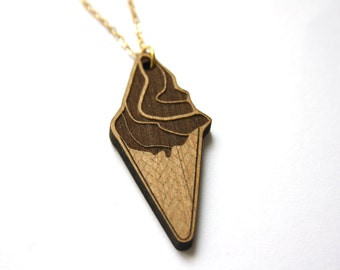 Ice cream long necklace, dolce vita wood pendant, fun fantaisy kitsch, sweet style, spring summer new collection, perfect birthday present