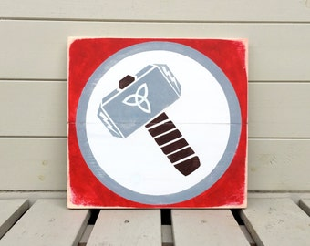 Thor Hammer Wooden Sign