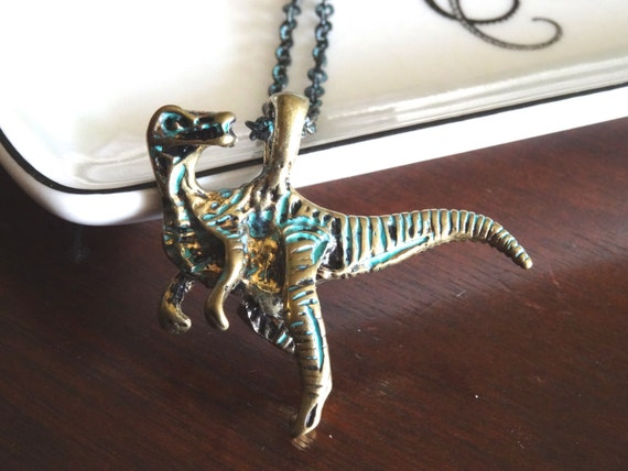 tyrannosaurus rex necklace distressed turquoise chain dinosaur
