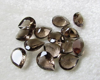 8x10 mm SMOKEY QUARTZ Pear faceted (5 pcs ) AAA Quality gemstone.....