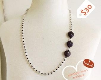 Amethyst heart necklace. Handmade.