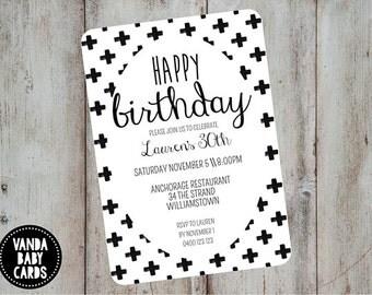 Modern Invitation, Kids Party Invite, Birthday Invitation, Monochrome Invite, Black Cross Invite, Printable Invitation, Black White Invite