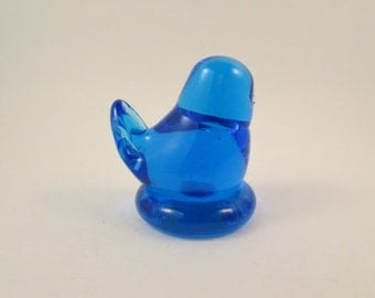 Small Azure Blue Glass Bird by Ron Ray 1991