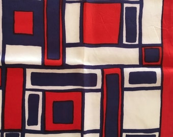 Mod Silk Scarf- Red/White/Purple Geometric 60s Pattern