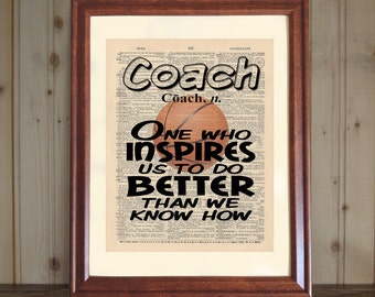 Basketball Coach Dictionary Print, Coach Appreciation, Coach Quote, Team Gift to Coach, Coach Gift, Sports Wall Art, Basketball Coach Print