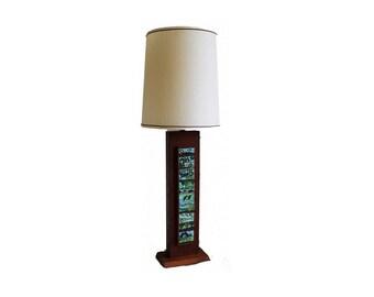 Mid Century  Rectangular Wooden Table Lamp.