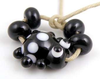 Black and White Ladybug Mini Focal with Spacers Made to Order SRA Lampwork Handmade Artisan Glass Beads Set of 5