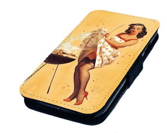 Pin Up Bbq Vintage Inspired Printed Faux Leather Flip Phone Case Cover For Various Models