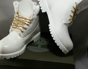 "Custom White ""Cocaine"" Timberland Boots- Hand Painted Timberlands- Custom Timberlands- Men & Woman Timberlands- Kids Timberlands"