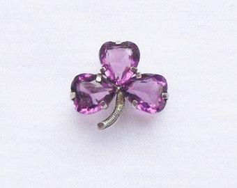 Antique Edwardian Silver & Amethyst Shamrock Brooch. Chester Silver 1904 Amethyst Hearts  Pin. Antique Valentine's Amethyst Heart Brooch.