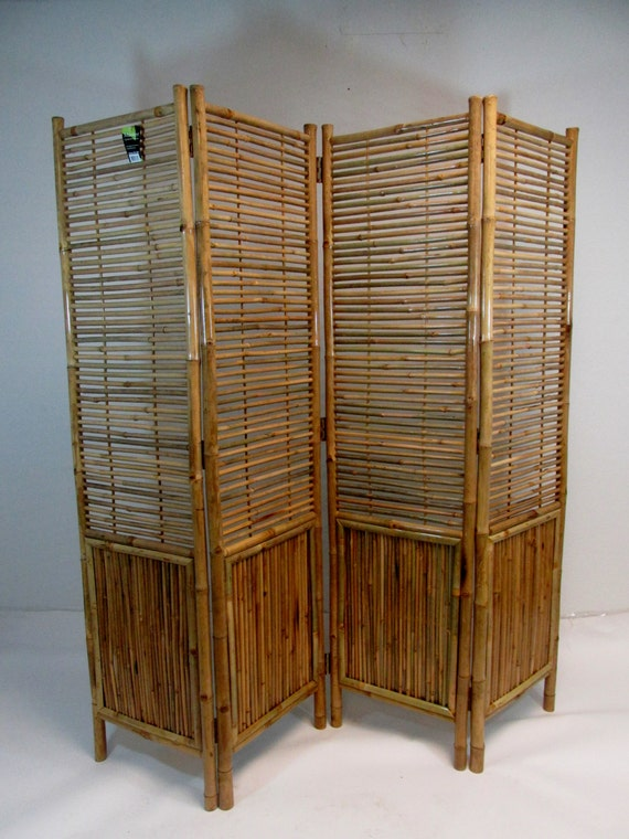 Bamboo screen 4 panel self standing screens 72w x for Outdoor bamboo screen panels