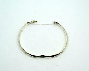 Vintage Hollow Sterling Silver Hinged Bangle Bracelet With Safety Chain  #HBB1-BB1