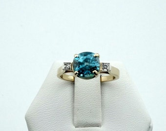 Dazzling Natural Cambodia Blue Zircon and Diamonds in a Vintage 14K Yellow Gold Ring  #BLZIRC-GR4