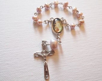 Baby Pink Guardian Angel Single Decade Rosary