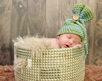 Newborn Sack Hat, Newborn photography prop, newborn boy, crochet sleeve hat, crochet hat