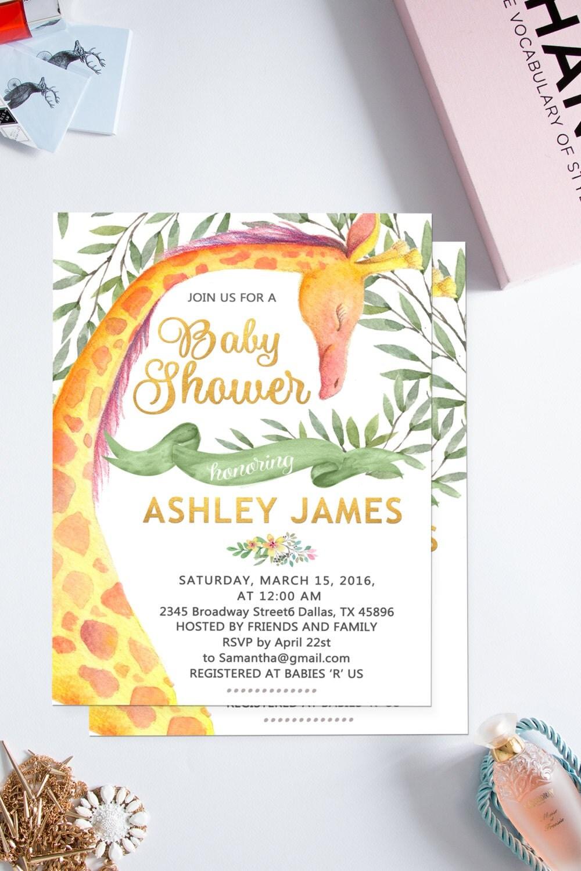 Giraffe baby shower invitation, Jungle Baby Shower Invitation ...