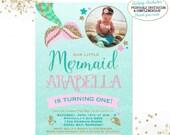 Mermaid Invitation Mermaid Birthday Invitation Pink Gold Sparkle Mermaid Invitation Under The Sea Invitation Mermaid Birthday Party