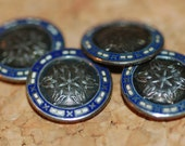 Genuine Vintage ca 1920s-'30s Sterling & Enamel Cuff Links -- Free Shipping!