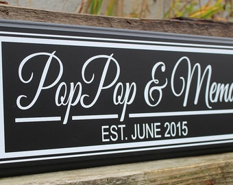 Grandparents sign-gift for grandparents-new grandparents gift-personalized grandparents sign-pop pop and mema-nana & papa gift-wood sign