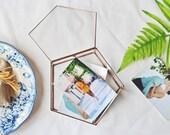 Large Jewelry Box, Gifts for Mom, Girlfriend Gift, Glass Card Box, Geometric Box, Keepsake Box, Wedding Photo Box, Jewelry Storage, Pentagon