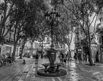 Barcelona Print, Black and White Art, Gothic Quarter Street Scene, Cityscape Print Wall Art, Europe Picture, Spain Photograph, Architecture