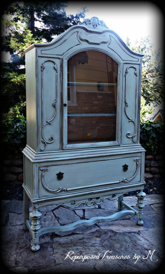 Pending Sale Antique Hutch Duck Egg Blue Hutch Shabby Chic