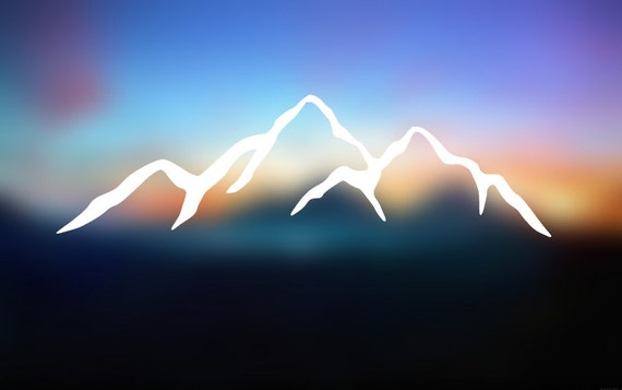 Mountain Silhouette Decal- Car Decal - Car Sticker - Laptop Decal