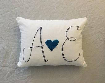 Initial Pillow Cover- Embroidered custom Pillow, personalized couples pillow, Personalized wedding gift, custom pillow, custom gift