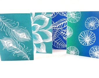 Lino print, Greeting card set of 4, Hand printed cards, Wall print set, Blue green feather, Unique cards, Handmade cards, Art cards