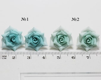 Mint green Rose Earrings Studs. Dusty mint flower earrings Mint green Jewelry Polymer clay. Sage green wedding jewelry Soft Green rose studs