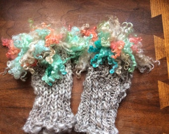 SHIPSFREE Josies Hand-Knitted Boot Cuffs/Leg Warmers, Custom-Made to Your Specifications, from Hand-Spun Yarn, Hand-Dyed Wool & Mohair Locks