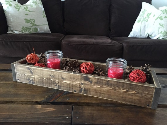Rustic wood box table centerpiece