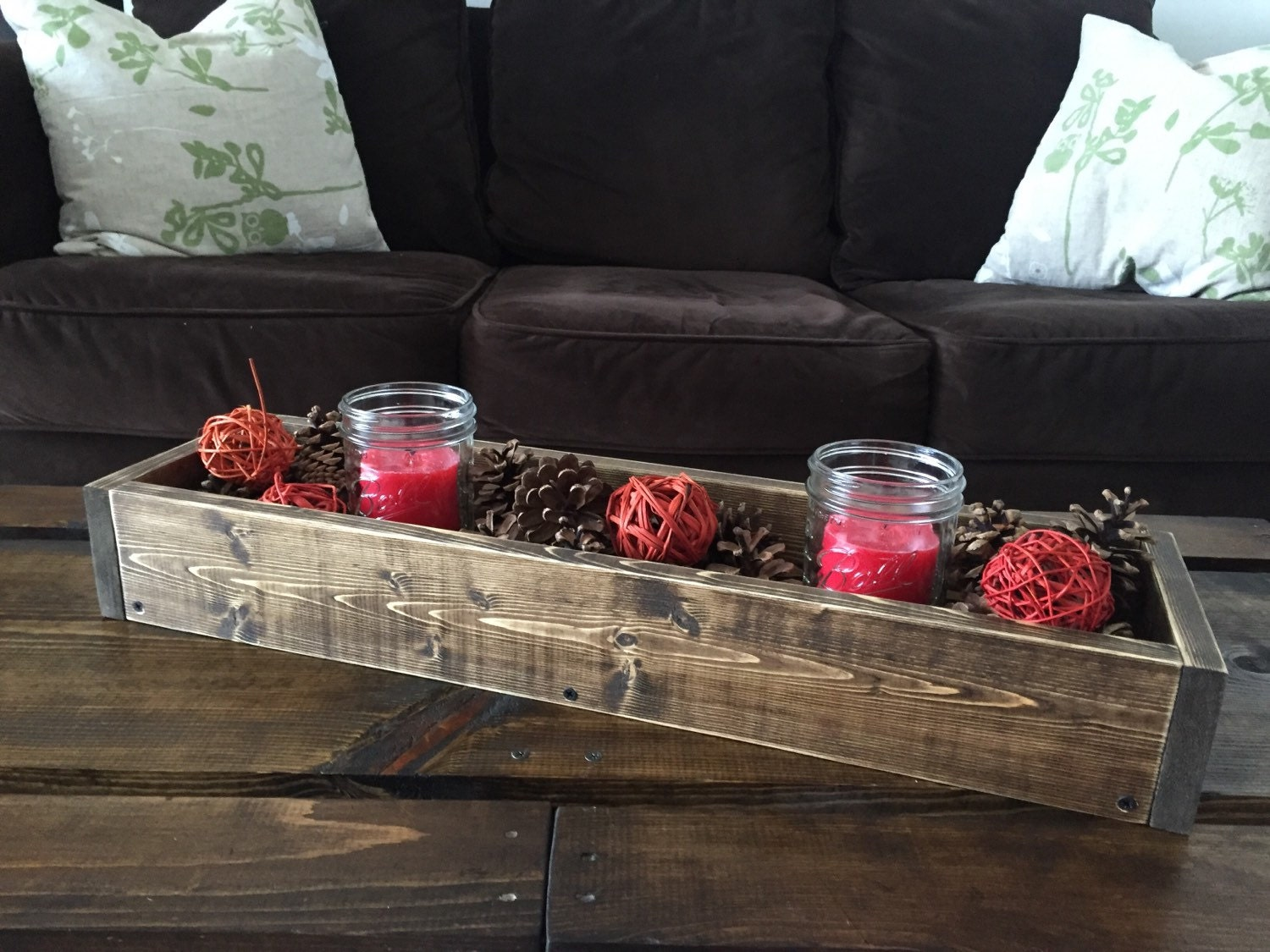 Rustic wood box table centerpiece by