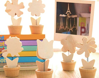 6 Wooden Flowers Photo Memo Clips Set Paint It Yourself Design Your Own Floral Pattern