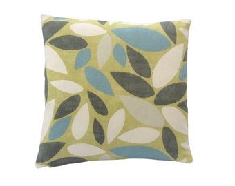 Pimlico Fennel Geometric leaf design In lime green duck egg blue grey & cream cotton fabric retro cushion cover pillow case