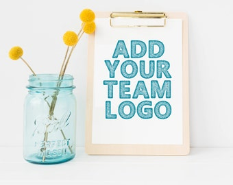 Add Your Team Logo to Any Shauna Smith Design Artwork - Chalkboard Artwork - Coaches Gift - Team Gift