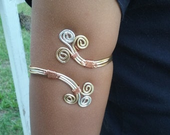 Tristan Upper Arm Cuff; Viking Wire Wrap cuff; Upper arm bracelet; Egyptian Arm Cuff;