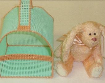 Vintage Ty Beanie Babies 1993 CAMELIA Rabbit Hand Woven Plush Pet Carrier Easter Bunny Basket
