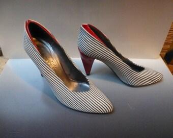 French Suede Charles Jourdan Paris  high fashion heels ,stilllettos, shoes vintage 80's